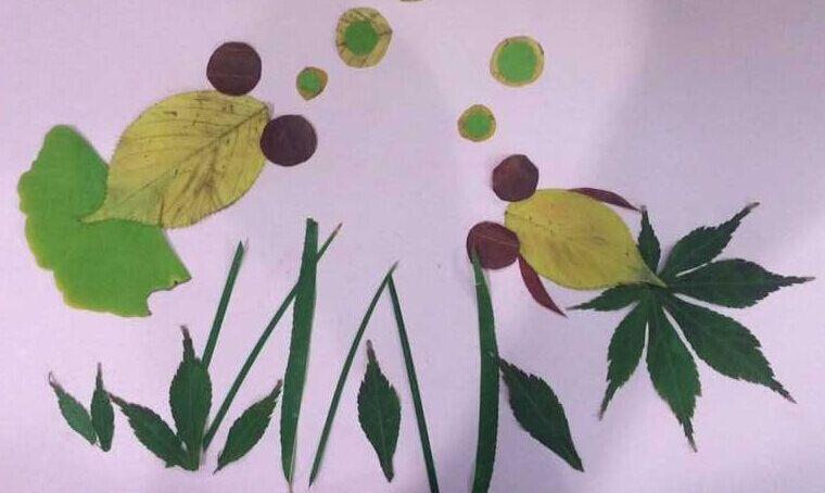 用银杏树叶做粘贴画展示图片